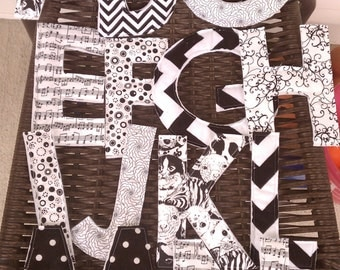 Black and white fabric Alphabet set