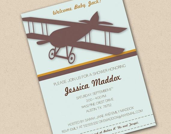 vintage airplane baby shower invitation by freshlycutcards on etsy