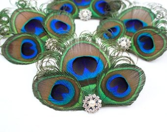 Peacock bridesmaid gift set - 4 Honest peacock fascinators / Bridesmaid headpiece / Hair clips
