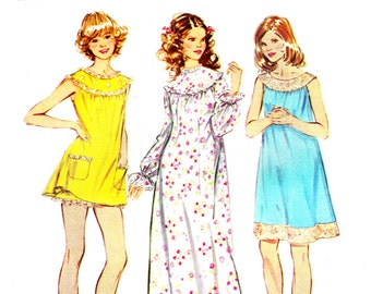 1970s Bust 31 1/2 - 32 1/2 Misses Nightgown Bloomers Vintage Sewing Pattern Simplicity 5030 c 1972 70s