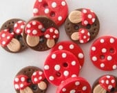 Button Tiny Toadstools handmade polymer clay  3/4 inch buttons ( 10 ) - digitsdesigns