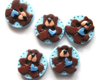 Button Tiny Teddy handmade polymer clay buttons ( 5 )