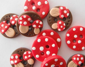 Button Tiny Toadstools handmade polymer clay  3/4 inch buttons ( 10 )