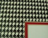 Picture  Mat Double Houndstooth Print Black and White with red  11x14 mat for 8.5x11 Photo or Art Custom Cut Rectangle