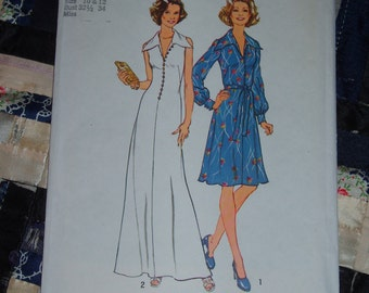 "Vintage 1975 Simplicity Pattern 6883 for Misses Dress Size 10 and 12, Bust 32 1/2"" - 34"" Uncut, Factory Folds"