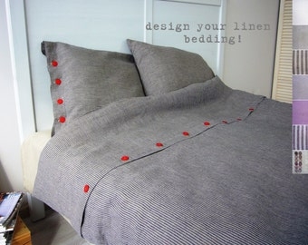 Linen bedding -Queen / Full- bespoke linens, linen bed set, luxury Belgian linen, Eco linen, custom made linens,