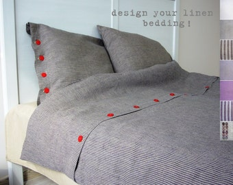 Linen bedding -Twin- bespoke linens, linen bed set, luxury Belgian linen, Eco linen, custom made linens,