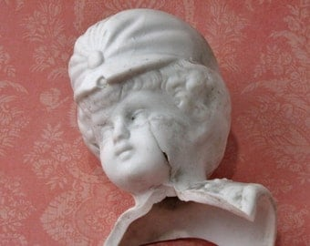Antique Porcelain Doll Head With Hat Two Inches  Tall