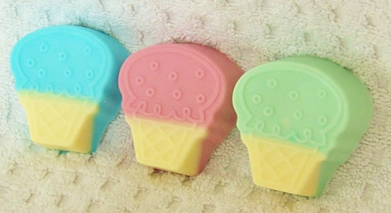 ICE CREAM CONE Soap - Choose Color & Scent, handmade, glycerin, scented, kids, fun, custom party favors