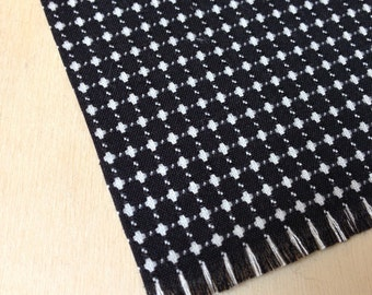 Black and White reversible kilm style rug - Modern Miniature - Dollhouse Size
