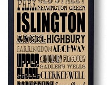 Islington (Old St, Highbury, Archway, Holloway, Canonbury) London Typography Wall Art Poster