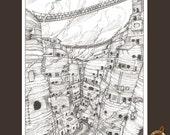 Black and White fantasy landscape illustration of a desert canyan village