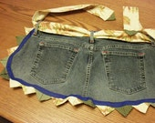 Upcycled jeans apron with prairie point trim