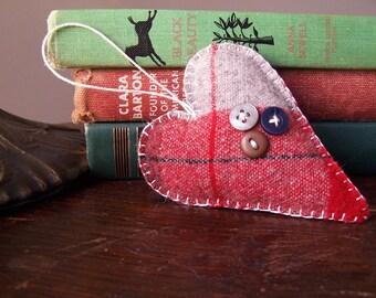 Plaid Heart Ornament- Valentines Day Decor