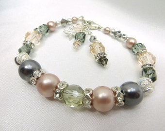 Vintage Inspired Bridal or Bridesmaid Swarovski Bracelet in Pink Champagne & Gray Pearls with sterling silver dragonfly charm