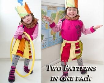 Patchwork balloon girls skirt & A-line skirt