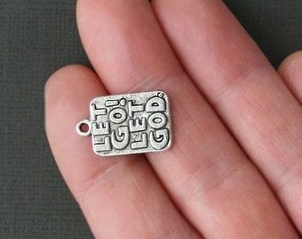 4 Religious Charms Antique Tibetan Silver Tone Let Go Let God - SC1695