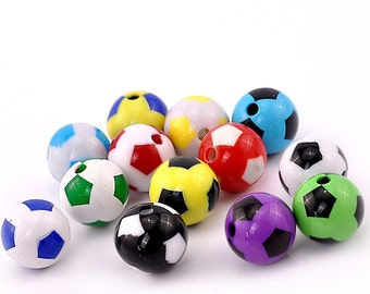 SALE 8 Soccer Ball Beads Colorful and Just Plain Fun -  K113