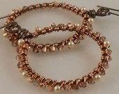 Copper, Pearl and Crystal Hoop Earrings,  OOAK Fancy Copper Earrings