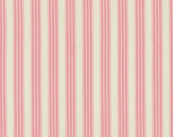 Fabric by the Yard, Pink Stripe Fabric, Verna Mosquera, Pirouette, Vintage Ticking, Flamingo, One Yard