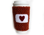 Knitted Coffee Cup Cozy Sleeve Orange with heart