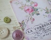 Mini notecards - small notecards - shabby style notecards - rambling rose - garland - french text - french inspired
