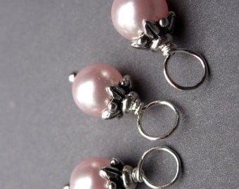 Pearl Charms, Pink Swarovski Crystal Pearls, Swarovski Charms, Birthstone Charms, Stitch Markers, Bead Dangles with  Bead Caps 6mm