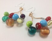 Reserved for Holli - Chunky, funky, beaded brass earrings