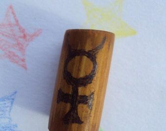 Bamboo Dread Bead - Freestyle Pyrographic -Mercury