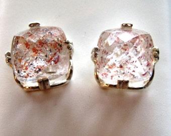 Strawberry Quartz Earrings Large 11x11mm Crystalline clear w/pink red black Sterling Silver custom dangle Cushion cut handmade fine jewelry