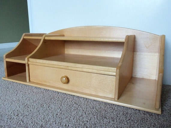 Tabletop wood desk organizer with drawer - Wood desk organizer with drawers ...