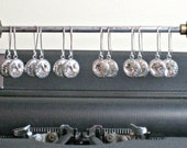 Earrings SIX SETS for Bridal Party, Antique Silver with Swarovski Crystal on Kidney Shaped Wires, Bridesmaid Gifts