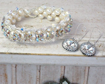 Bridal Bracelet and Earrings, Ivory or White Pearl with Swarovski Crystal Earrings for Weddings, Bridesmaid Gifts