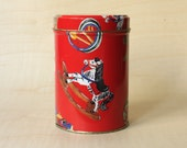 Vintage Tin Box in Red with Toys