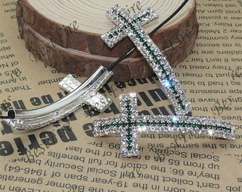 2pcs of 24x53mm silver tone Sideways Cross white and green Rhinestone Connector,Cross Bracelet Connector,bangle findings