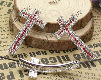 2pcs of 24x46mm Silver tone Sideways Cross white and red Rhinestone Connector,Cross Bracelet Connector,bangle findings