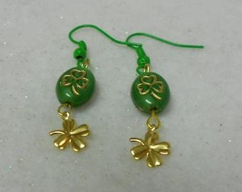 St. Patrick's Day Earrings 4-Leaf Clover Earrings Shamrock Earrings