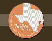 Texas State Personalized Return Address Labels Stickers  - Set of 70 Matte Round Labels