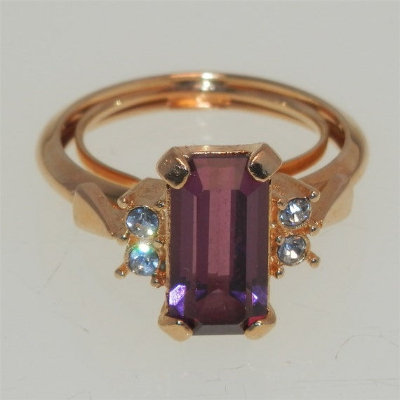 Vintage 1970s Ring Avon Simulated Amethyst Size 6 To 7