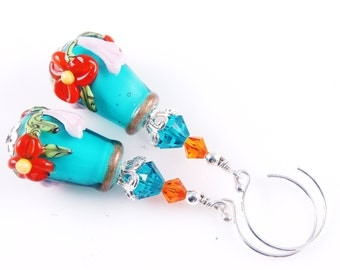 Lampwork Earrings, Teal Glass Bead Earrings, Orange Flower Cone Earrings, Glass Bead Jewelry, Beadwork Earrings, Lampwork Jewelry