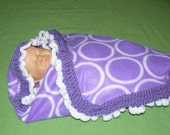Handmade Fleece Purple & White Circles Baby Receiving Blanket with Purple and White Ruffled Crochet trim
