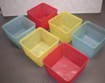 Vintage Mid Century Colorful Plastic Kitchen Containers - Set of Six