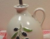 White Revol Provence France Olive Oil bottle porcelain Huile d'olive - rare