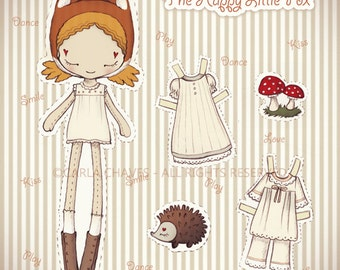 The Happy Little Fox paper doll - made to order