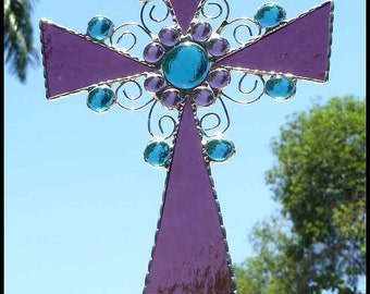 Stained Glass Suncatcher, Glass Cross, Glass Christian Cross, Christian Gift, Glass Cross Sun Catcher, Christian Sun-Catcher, 9522-MM