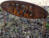 CUSTOM House Numbers Oval Rusted Steel & Stainless Ground-stakes