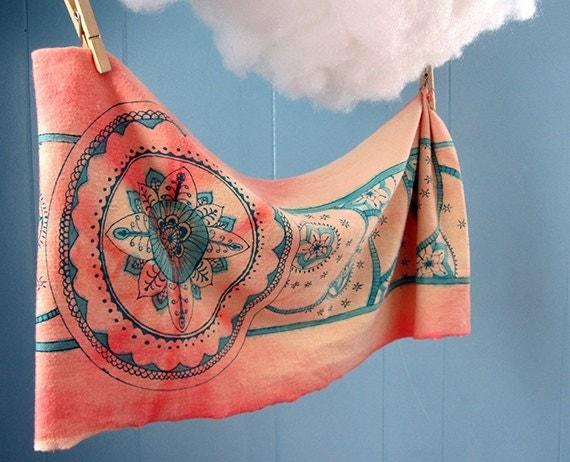 Mehndi Infinity Scarf, Teal and Pink, Hand dyed, Mandala, Organic cotton Jersey