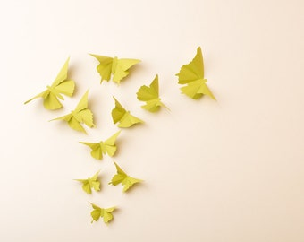 3D Wall Butterflies: Butterfly Silhouettes for Girls Room, Nursery, and Home Art Decor in Citrus