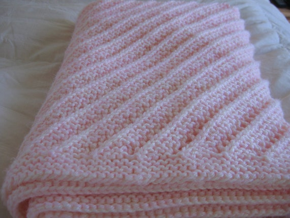 Pink And Antique White Diagonal Pattern Knit Baby Blanket