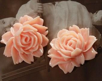 Last 4PCS Wholesale Beautiful  Vintage Big Rose   Flower Resin Cabochon   -- (CAB-C-15)